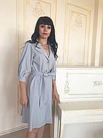 Женское платье халат серое платье на пуговицах спереди с поясом Стиль