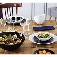 Столовий великий чорно-білий сервіз Luminarc Harena Black/White 38 предметів (P9626)
