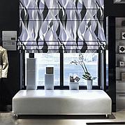 Римська штора з абстрактними лініями чорного та сірого кольору