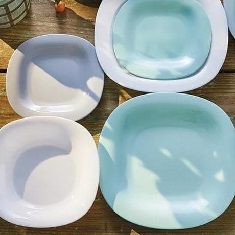 Набор столовый бело-голубой Luminarc Carine Light Turquoise & White 19 предметов (P7627)