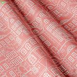 Римські штори з білим архітектурним орнаментом на яскраво-рожевому фоні, фото 2