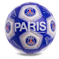 Мяч футбольный 5 размер ПСЖ ПАРИ СЕН-ЖЕРМЕН PSG PARIS SAINT-GERMAIN Ручная сшивка Бело-синий (СПО FB-0593)