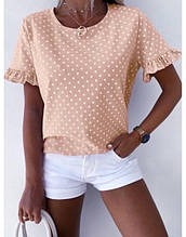 """Блуза женская  в горошек с коротким рукавом """"Ненси""""В И"""