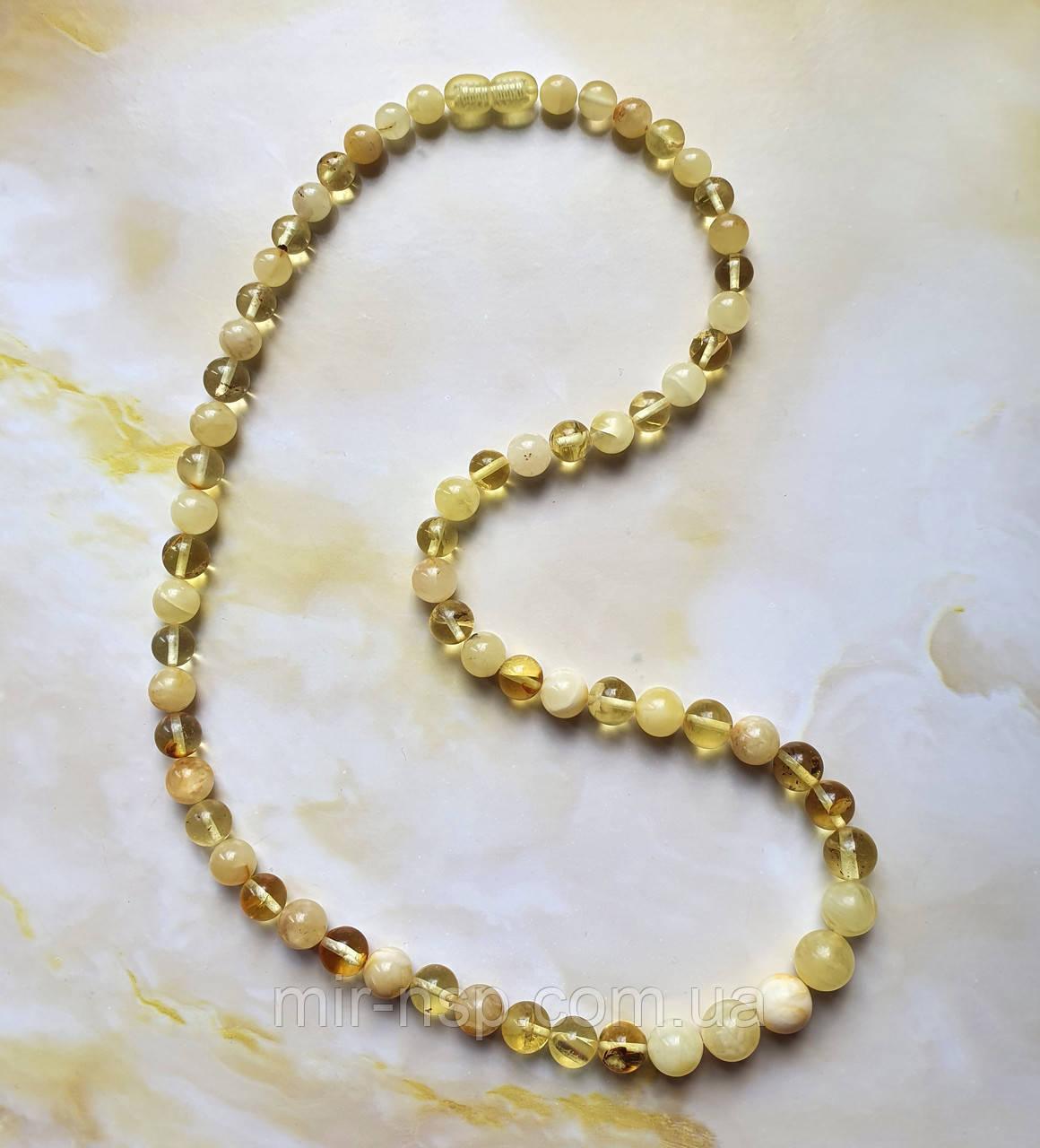 Ожерелье бусы 100% натуральный янтарь (не пресс, не плавка) шар 6,5-9,5 мм вес 16г