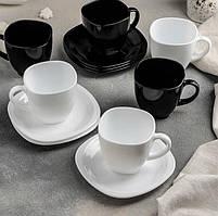Чайный набор чашек с квадратными блюдцами Luminarc CARINE White&Black 6х220 мл (D2371)