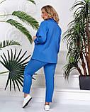 Легкий брючный костюм стильный офисный льняной (2 цвета, р.44,46), фото 4