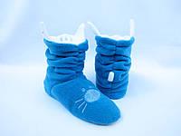 Мягкие веселые тапочки-сапожки=Котики=комфортно и тепло, голубые