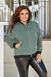 Женская кофта на молнии большого размера 48, 50, 52, 54, микровельвет, бомбер на змейке, Зеленая, фото 2