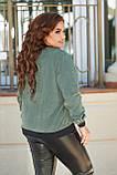 Женская кофта на молнии большого размера 48, 50, 52, 54, микровельвет, бомбер на змейке, Зеленая, фото 3