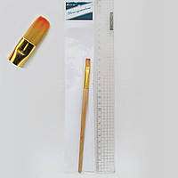 Кисть для рисования нейлон № 6 деревянная ручка кисть нейлон плоская 6