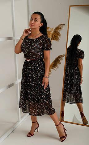 Легкое шифоновое платье с поясом (в расцветках), фото 3