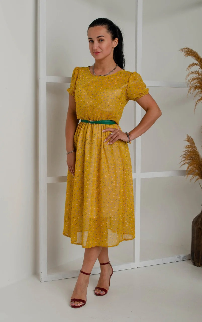 Легкое шифоновое платье с поясом (в расцветках)