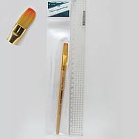 Кисть для рисования нейлон № 9 деревянная ручка кисть нейлон плоская 9