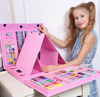 Набор для детского творчества в чемодане из 208 шт Розовый художественный набор для рисования с мольбертом
