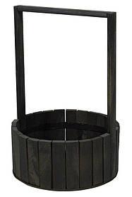 Кошик чорна дерев'яна кругла велика BW-230