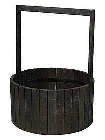 Кошик чорна дерев'яна BW-300 (41х30х13см)