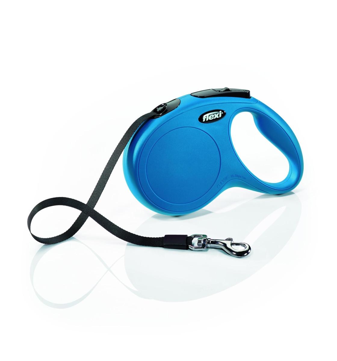 Поводок рулетка ФЛЕКСИ FLEXI New Classic M, для собак весом до 25 кг, лента 5 метров, цвет синий