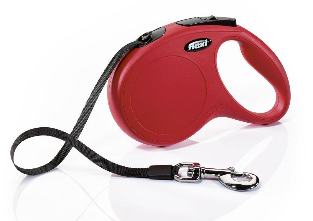 Поводок рулетка ФЛЕКСИ FLEXI New Classic M, для собак весом до 25 кг, лента 5 метров, цвет красный
