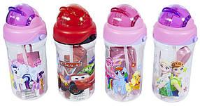 """Пляшка для води """"DS""""L 420 мл, прозора, довгий шнур, трубочк, 2241"""