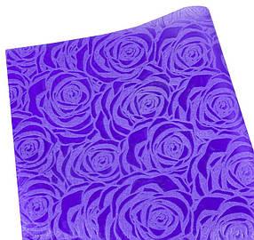 """Флізелін """"Троянда"""" 55х60см-20шт-тиснений в аркушах,фіолетовий, PFD-R purpl"""