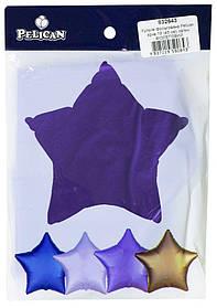 """Кулька фольгований PELICAN зірка 18 """"(45см) сатин фіолетовий(5шт)"""