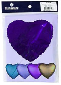 """Кулька фольгований PELICAN серце 18 """"(45см) Фіолетовий (5шт)"""
