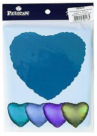 """Кулька фольгований PELICAN серце 18 """"(45см) Блакитний світлий (5шт)"""