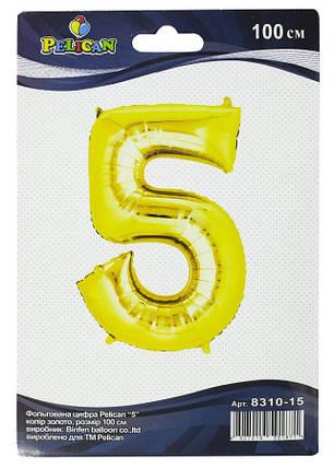 """Цифра фольгированная Pelican, """"5"""" золото 100см, (индивидуальная упак.), фото 2"""