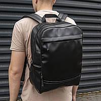 Мужской кожаный рюкзак (портфель) Pegas, Городской кожаный рюкзак, стильный молодежный рюкзак черный