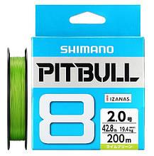 Шнур рыболовный  shimano pitbull  x8 200m #1.2 0.185mm 0.1 27lb 12.2kg