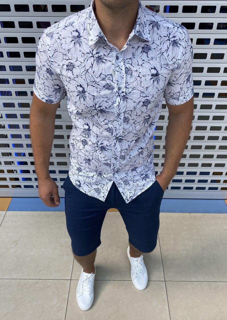 Мужская рубашка с коротким рукавом H0752 белая