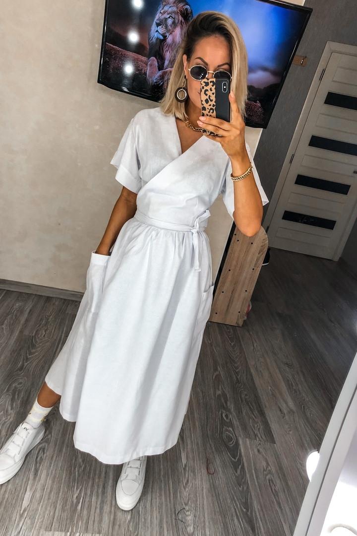 Женское льняное платье миди