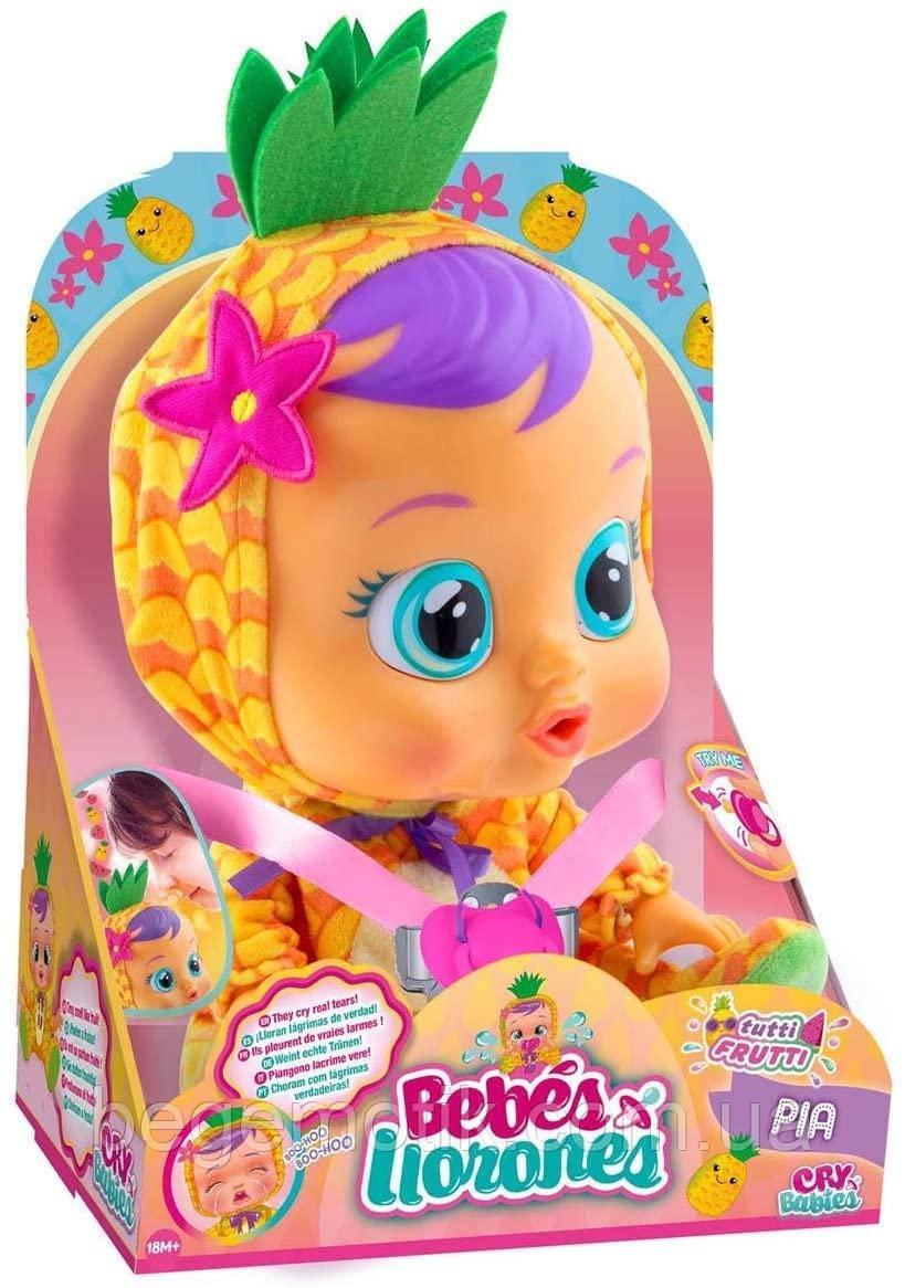 Интерактивная Кукла плакса IMC Toys 93829 Cry Babies Pia Тутти Фрутти Пупс Плачущий младенец ПИА Ананасик