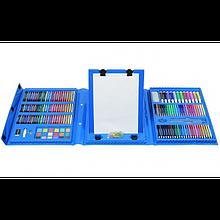 Детский художественный набор для творчества рисования в чемоданчике 208 предметов с мольбертом