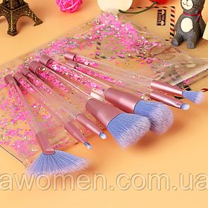 Набор кистей прозрачные с розовыми блесками (7 штук) с чехлом
