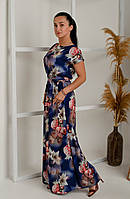 Длинное летнее платье в пол большого размера под съемный пояс