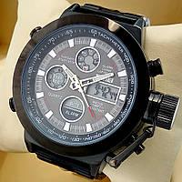 Водонепроницаемые оригинальные электронные наручные часы Skmei 1515 dual time двойное время черного цвета