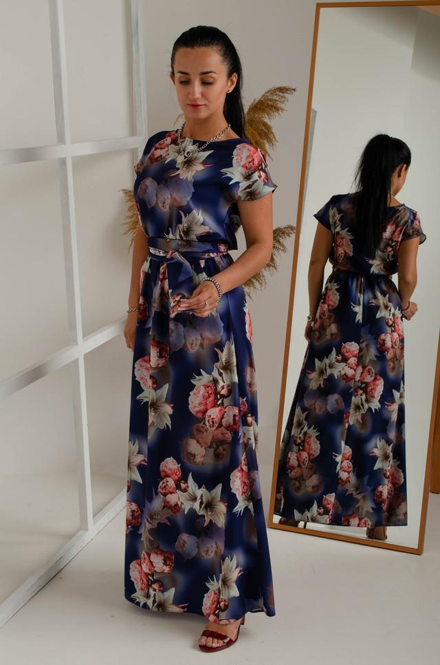 Летнее платье в пол из турецкого софта под пояс