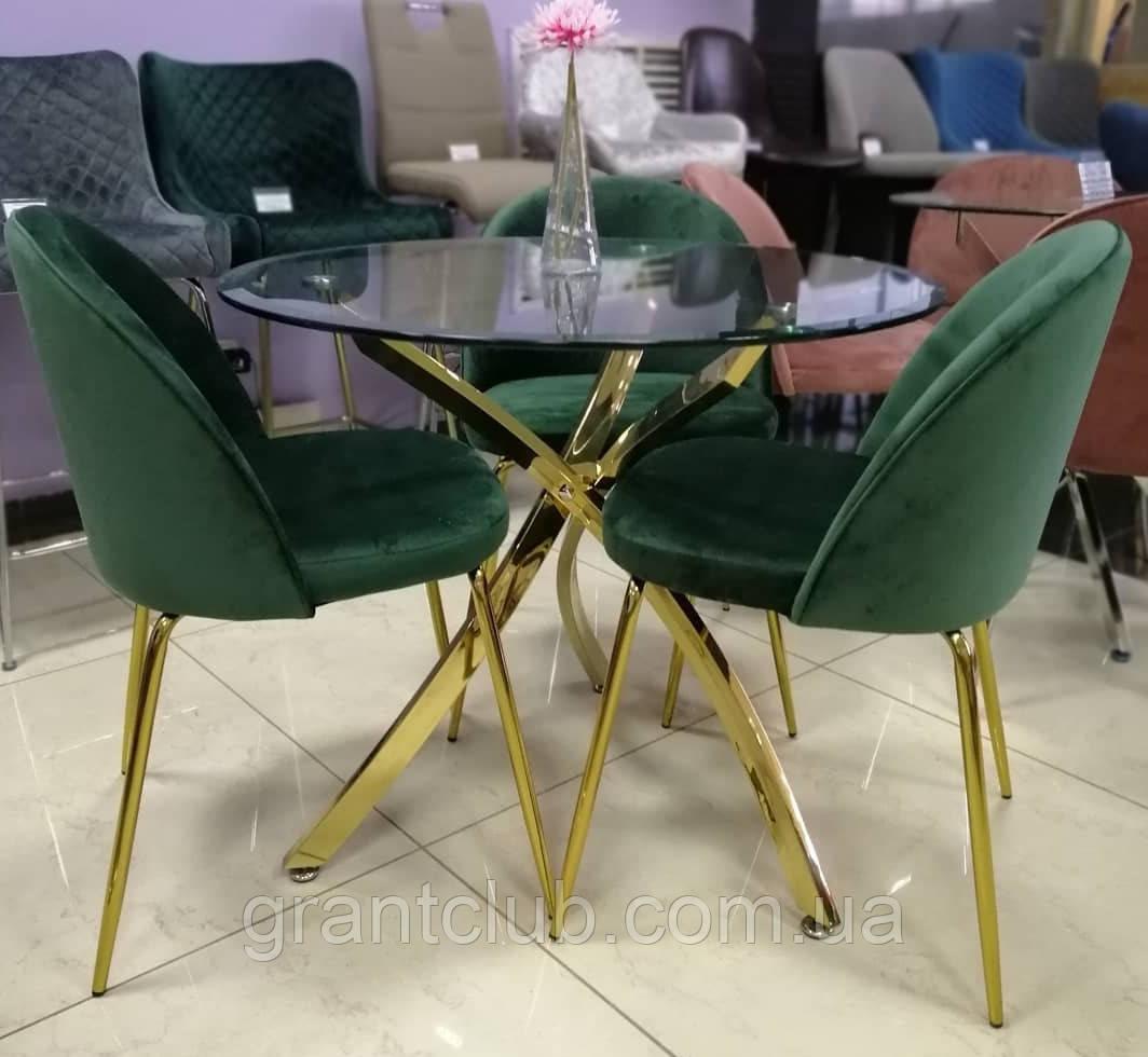 Стол обеденный круглый T-317 прозрачная столешница ноги золото диам. 80 см Vetro Mebel