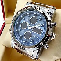 Водонепроницаемые оригинальные электронные наручные часы Skmei 1389 dual time двойное время серебряного цвета