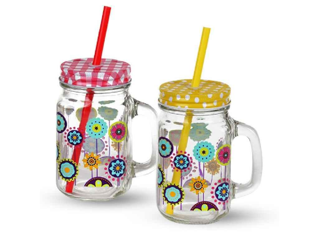 Чашка скляна з кришкою Асорті 480мл 7368 ТМSNT