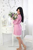 739 Шёлковый халатик серо-розовый, фото 1