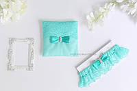 """Свадебный набор """"Бриз"""" подвязка и подушечка"""