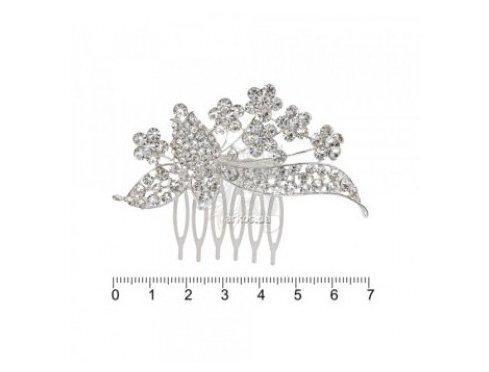 Гребень металлич. дорогой серебр. с камешками FZZ-1170S (012694) (6)