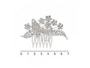 Гребінь металевих сіт. дорогий серебр. з камінчиками FZZ-1170S (012694) (6)