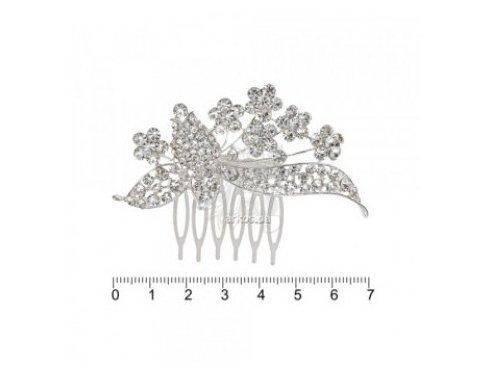 Гребень металлич. дорогой серебр. с камешками FZZ-1170S (012694) (6), фото 2
