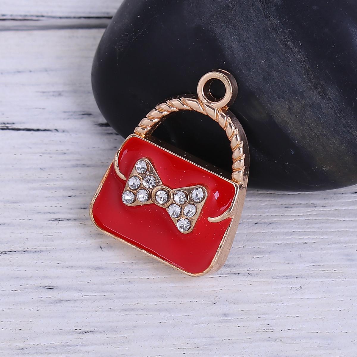 Металлическая подвеска с эмалью 23х17 мм сумочка золото для рукоделия цвет красный
