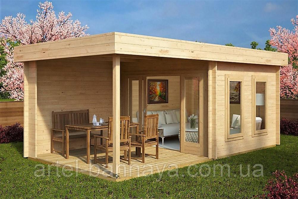 Беседка деревянная из профилированного бруса с закрытой комнатой  6х3 м. низкая цена от производителя Бровары