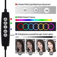 "Кольцевая USB RGBW LED-лампа Puluz PKT3047B 6.2"" + настольное крепление (PKT3047B), фото 2"