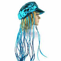 Кепка женская с косичками (голубая), фото 1